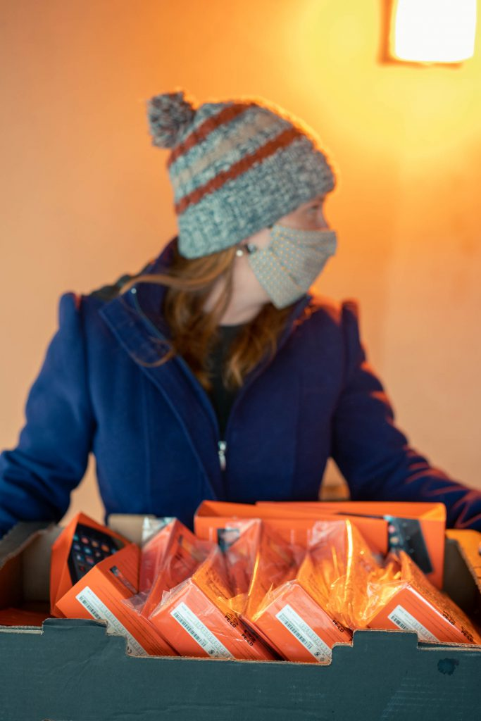 Tania with one box of goodies
